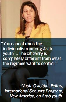 You cannot undo the individualism among Arab youth … The citizenry is completely different from what the regimes want to control.-Nadia Oweidat, Fellow, International Security Program, New America, on Arab youth