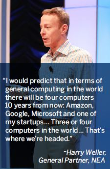I would predict that in terms of general computing in the world there will be four computers 10 years from now: Amazon, Google, Microsoft and one of my startups… Three or four computers in the world… That's where we're headed.-Harry Weller, General Partner, NEA
